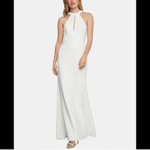 BCBGMaxazria Women's Keyhole Halter Gown, White